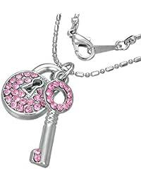Mode Kristall Vorhängeschloss Schlüssel Charm Halskette mit Schmucksteinen - Rosa