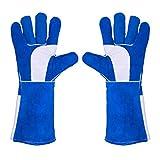 Guanti da saldatore in pelle, misura grande, resistenti al fuoco, guanti da saldatore resistenti al calore, guanti da camino, guanti ignifughi, guanti per cani e gatti, 40,6 cm, blu