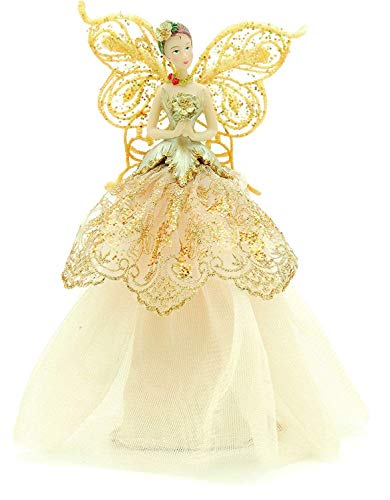 GISELA GRAHAM Christmas tree topper fairy angel traditional with gold wings by Gisela Graham