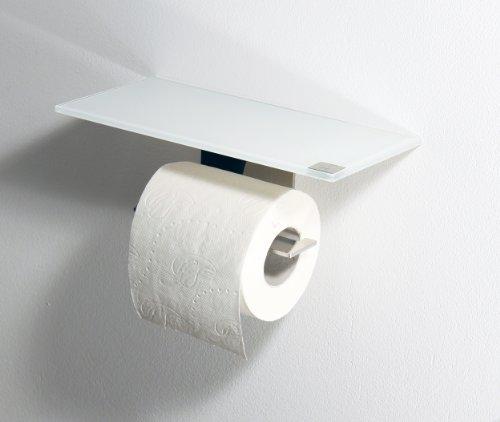 WC Rollenhalter / Toilettenpapierhalter mit weißer Abstellfläche / Ablage aus Glas - Made in Germany -
