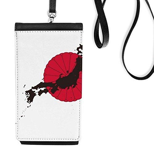 DIYthinker Japan Kultur Japanische Art-Rot Schwarz National Emblem Chrysanthemum Karten-Kunst-Illustration Muster-Leder-Smartphone hängende Handtasche Schwarze Phone Wallet Schwarz - National Schwarz Leder