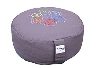 Tvamm lifestyle Rund Meditationskissen (Zafu) Buchweizenschalen, Ø 36 cm x 15 cm, Bezug und Inlett 100% Baumwolle, Bezug und Inlett maschinenwaschbar bis 30º C
