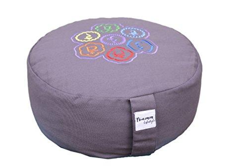 Tvamm lifestyle Rund 7 Chakra Meditationskissen Grau (Zafu) Buchweizenschalen, Ø 36 cm x 15 cm, Bezug und Inlett 100% Baumwolle, Bezug und Inlett maschinenwaschbar bis 30º C