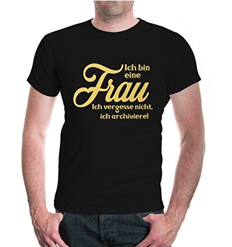 buXsbaum® T-Shirt Ich bin eine Frau. Ich vergesse nicht, ich archiviere Black-Gold