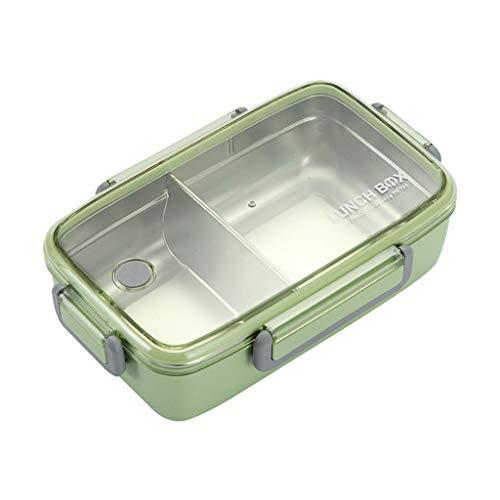 Mikrowelle Edelstahl Trennwand Lunchbox, Fächern Auslaufsicher Mikrowelle Brotbüchse Lunchbox Brotdose Bento Box Vesperdose für Kinder & Erwachsene Snackbox Büro Schule Camping (Grün)