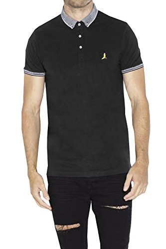 Love My Fashions Mens Polo Shirt by Brave Soul 'Glover' Jacquard Collar & Cuff Short Sleeve Causal Outwear T-Shirt Size S M L