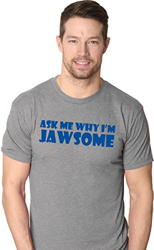 Crazy Dog Tshirts - Ask Me Why I'm Jawsome T Shirt Funny Flip Up 70s Shark Movie Tee (Grey) L - herren - L