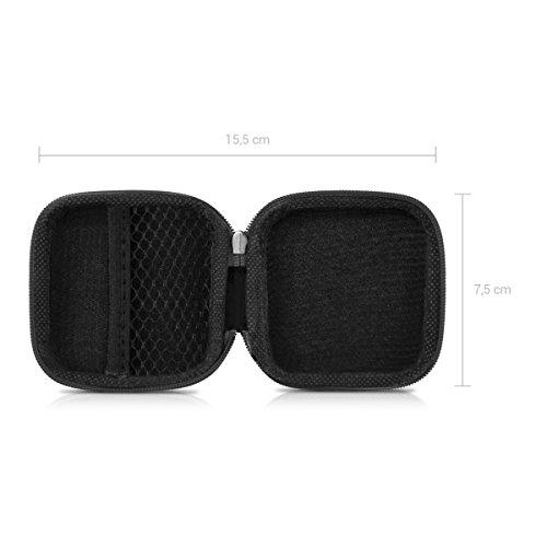 kwmobile In-Ear Kopfhörer Tasche - In Ear Headphones Schutztasche - Earphones Etui Case Cover Hülle für Kopfhörer in Schwarz - 2