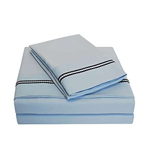 Superior 3000 Series Super Soft and Wrinkle Resistant Microfibre 4-Piece Bed Sheet Set with 2-Line Embroidery in Gift Box, Long Single/Ikea Single, Light Blue with Navy Blue