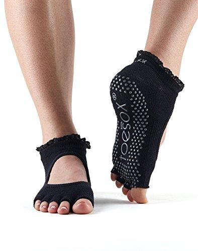 ToeSox Frauen 1 Paar Bella Halb Toe Organic Cotton vorne offen Yoga Socks In Black 6-8,5 Damen schwarz