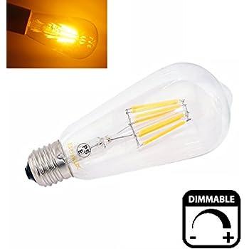 Bonlux 8W ST64 ES regulable LED largo filamento de la bombilla blanco cálido 2700K Edison Tornillo E27 LED LED antiguo de jaula de ardilla Luz 75W Bombilla de recambio
