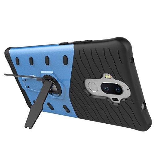 Huawei Mate 9 Hülle Schock-resistent 360 Grad Spin Sniper Hybrid Case TPU + PC Kombination Fall mit Halter für Huawei Mate 9 Fall by diebelleu ( Color : Black ) Blue