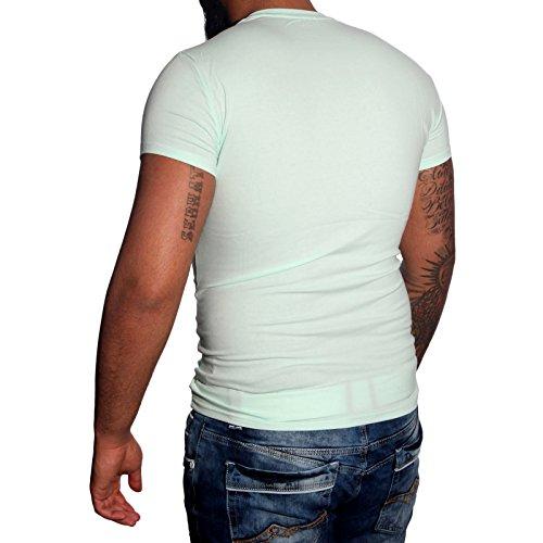 Subliminal Mode - T-shirt V-kragen Herren Bogen Mehrfarbig Mode Ck02 Polo Hemd Minzgrün