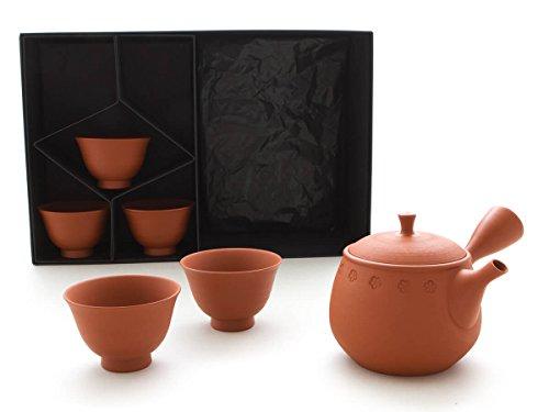 Gyokko – Japanisches Tee-Service 6-teilig. Tokoname KOBANA mit 5 Tee-Schalen. Rot mit Blüten-Rand, Handmade auf der Töpfer-Scheibe, integriertes Keramik-Sieb