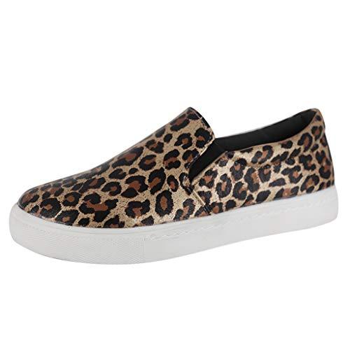 Lilicat-Damen Slip On Schuhe Leopard Sneaker Textile Light Weight Übergrößen Flandell Classic Low-Top Erwachsene Sneakers Sportschuhe Fitness Schuhe Gymnastikschuhe -