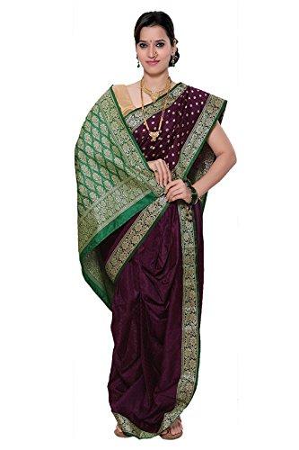 Bhartiya Vastra Bhandar Women's Ready to wear Nauvari Saree(DNo12_BobyNimzariButta_Multi-Coloured_FreeSize)