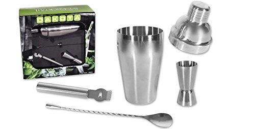 Dakota Set de Gin Tonic. Coctelera 550ml, Vaso medidor Jigger de 25/50 ML, Cuchara mezcladora y Pelador de ralladura 1 Set