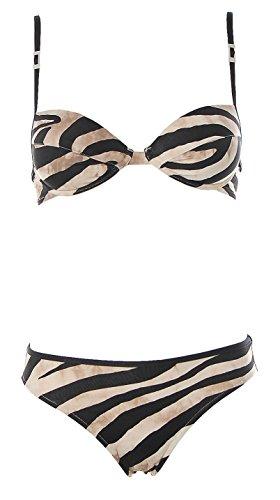 Borabora Damen Push Up Bügel Bikini Brazil Slip Zebra Print Schwarz Creme 34 Cup B