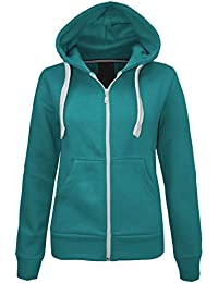 NEW LADIES WOMENS PLAIN HOODIE HOODED ZIP TOP ZIPPER SWEATSHIRT JACKET COAT Teal UK 14 / AUS 16 / US 10