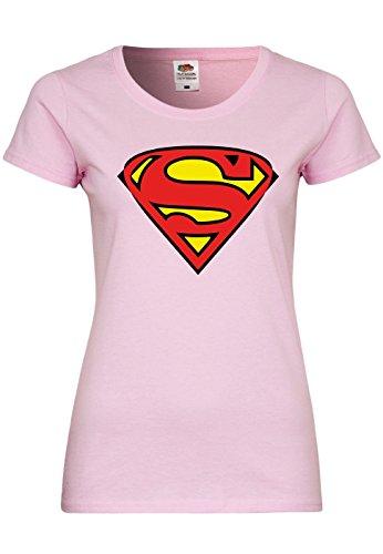 M91 F288N Damen T-Shirt mit Motiv Superman, Größe:M;Farbe:Light (Kostüme Superman Lycra)