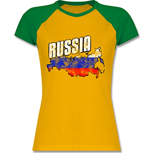 EM 2016 Frankreich Russia Umriss Vintage zweifarbiges Baseballshirt / Raglan  TShirt für Damen Gelb/Grün