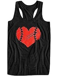 Chaleco de Mujer Camiseta Sin Mangas Amor Estampado Impresión béisbol Color sólido Suelto y cómodo Slim-fit Sling Vestido Fiesta Top Casual Primavera Verano Marlene1988