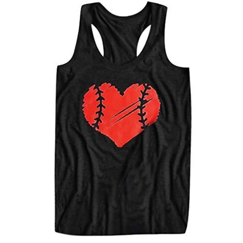 Bio-baumwolle Cami Top (Bluestercool Damen ÄRmelloses Tank Shirt Bluse Cami Tops, Love Baseball Drucken Schulterfreies Oberteil Weste)
