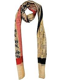 India Silk Fab Chanderi Handloom Kataan Women's Dupatta In Off-White Color