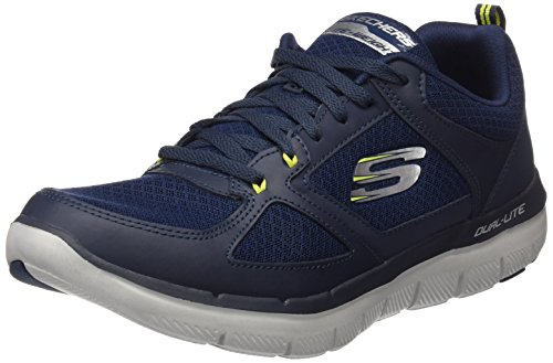 Skechers Herren Flex Advantage 2.0-Lindman Sneaker, Blau (Navy/Lime), 42 EU (Schuhe Für Herren Skechers-sport)
