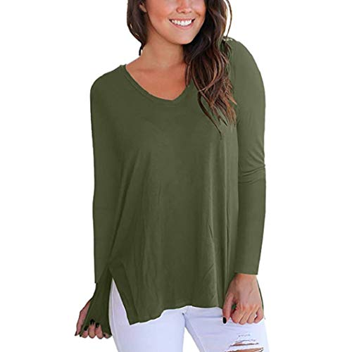 (Subfamily Damen kurzärmel High Low Lose T Shirt Basic Shirt Tops mit Side Split O Ausschnitt Lässig Bluse Fashion Oberteile Sweatshirt Herbst Langarmshirt)