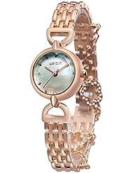 Alienwork Reloj cuarzo pulsera cadena envolver cuarzo nácar strass Metal plata oro rosa UWQ4782-03
