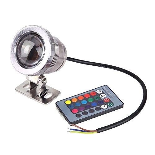 Demiawaking 10W RGB 16 Colors LED Unterwasserleuchte Schwimmbad Teich Lampe mit Fernbedienung Silber (83 Mm Shell)