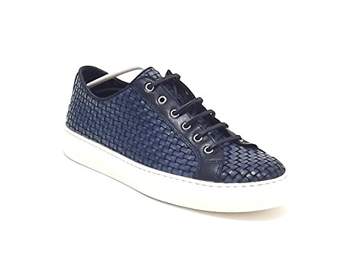 Soldini uomo, modello 19775, sneakers in pelle intrecciata, colore blu