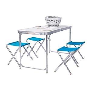WOLTU Campingtisch Klapptisch Gartentisch Sitzgruppe Picknicktisch Campingmöbel Set, Tisch mit 4 Stühle, Tischplatte aus MDF, CPT8127sg