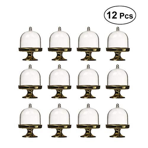 BESTONZON 12pcs Mini Kuchenteller mit Ständer und Dress-Deckel, elegante Einweg-Mini-Cake-Stand, Posh Mini Collection, geeignet für Hochzeitsbankette, 8 x 6 x 6 cm Gold Stand