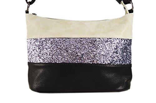 Gallantry -sac en paillette-sac à bandoulière femme (Gris/Noir)