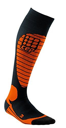 CEP Herren Progressive+ Compression Race Skisocken XL Black/Flash Orange