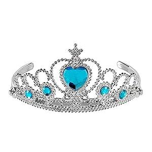 WIDMANN 09788 Tiara con piedras preciosas para niños, niñas, plata/turquesa, talla única