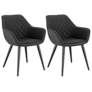 WOLTU Esszimmerstühle BH251an-2 2er Set Küchenstühle Wohnzimmerstuhl Polsterstuhl Design Stuhl mit Armlehne Kunstleder…