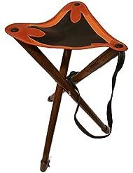Trípode taburete con asiento de cuero