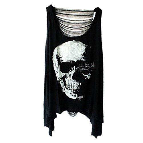 ROSENICE Frauen ärmellose Weste Skull Punk-Quaste T-Shirt (schwarz) (Punk-baby-t-shirts)