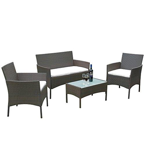 Sanmey Rattan Garten Möbel Terrasse Set Innen Outdoor 4-Teiliges Set Tisch Stuhl, Sofa