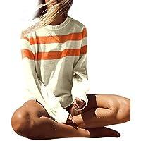 Yvelands Tallas Grandes para Mujer Camiseta de Moda de Manga Larga Tops Tejido a Rayas SweaterTop Blusa