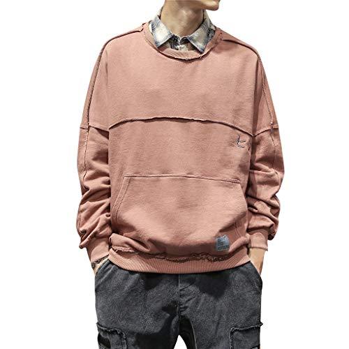 PAOLIAN PAOLIAN Herren Pullover Mit Rundhalsausschnitt Große Größe Patchwork Sweatshirt Pullover Männer Klassisch Wild Einfarbig Sweatshirt Lose Outwear M/L/XL/2XL/3XL/4XL/5XL