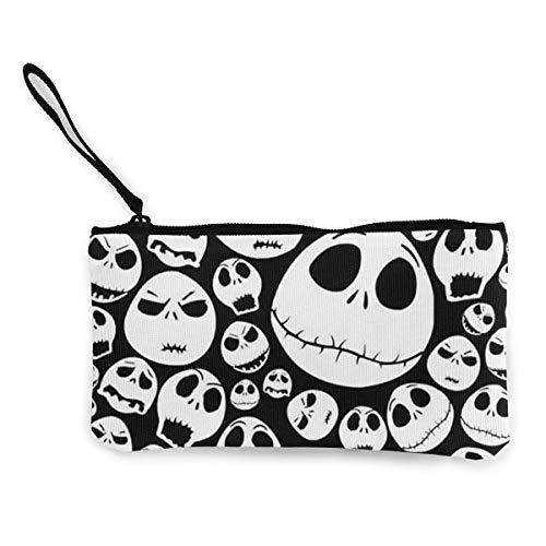 dewdferf Coin Purse Halloween Skull Cute Travel Makeup Pencil Pen Case With Handle Cash Canvas Zipper Pouch 4.7