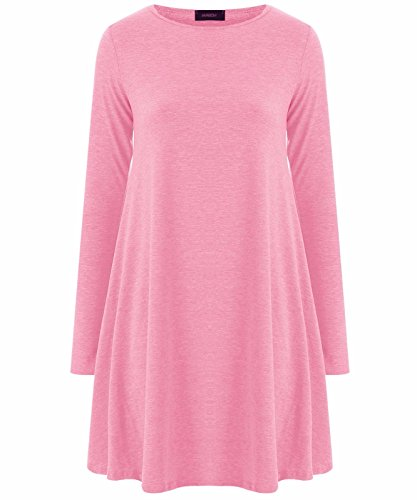 Fashion 4 Less - Robe - Swing - Manches Longues - Femme Rose