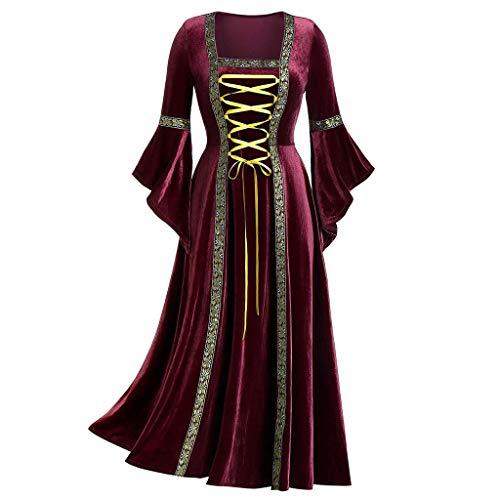 INLLADDY Kleid Lady Court Kleid Retro Cosplay Prom Party Kostüm Halloween Weinrot (Lady Frankenstein Kostüm)