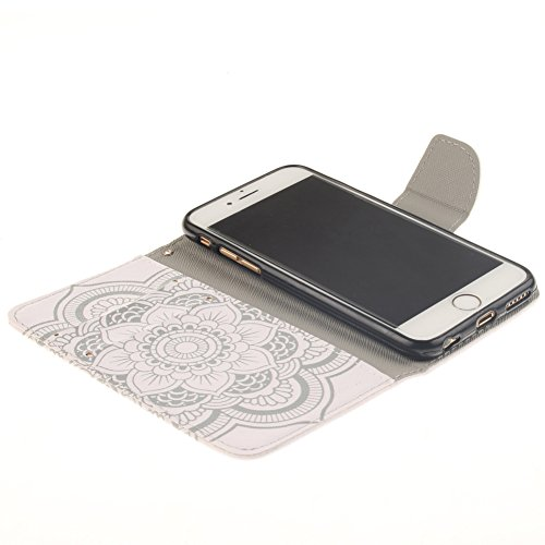 """Cas Pour Apple iPhone 6/6S 4.7"""", MCHSHOP Luxe PU Motif de quadrillage flip en cuir Couvercle du socle de portefeuille Cover Pour iPhone 6/6S 4.7"""" - 1 gratuit Touch Pen blanc Gros Fleur"""