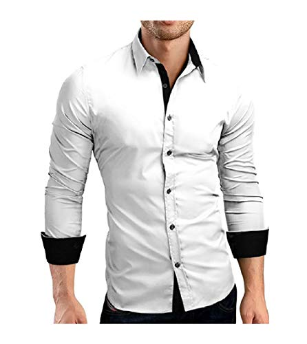CuteRose Men No-Iron Long-Sleeve Relaxed-Fit Individuality Western Shirt White 2XL