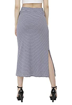 Sequend Premium Cotton Lycra Blue Stripe midi Skirt with Side Slit